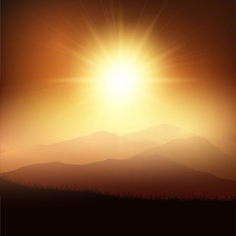 Paisaje de puesta de sol y montañas vector gratuito