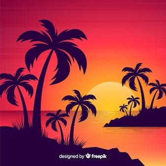 Paisaje puesta de sol en la playa degradada