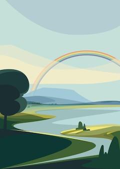 Paisaje con río y arco iris. escenario natural en orientación vertical.