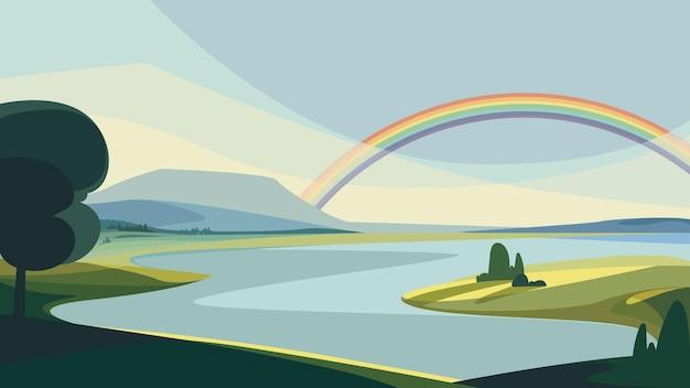 Paisaje con río y arco iris. hermoso paisaje natural.