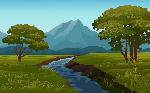 Paisaje de río y montaña con árboles y campo.