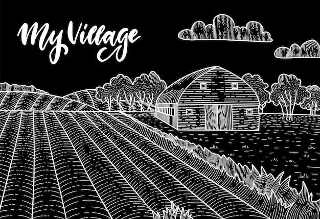 Paisaje rural con campo, antigua casa de granero, árboles, panorama de campo. dibujo de tiza en la ilustración de dibujo lineal de pizarra. fondo de campo con letras mi pueblo