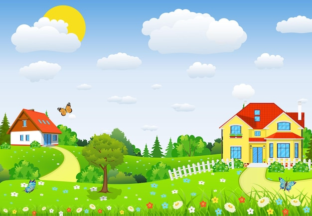Paisaje rural con campos y colinas con campos y colinas.
