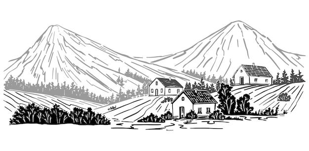 Paisaje rural. casas, árboles, montaña. ilustración de vector dibujado a mano. dibujo gráfico monocromo aislado en blanco. imagen en estilo vintage grabado para diseño.