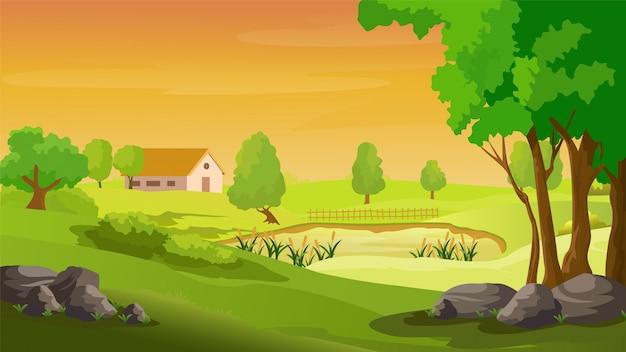 Paisaje rural con las casas y montañas y colinas
