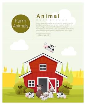 Paisaje rural y fondo de animales de granja con vacas.