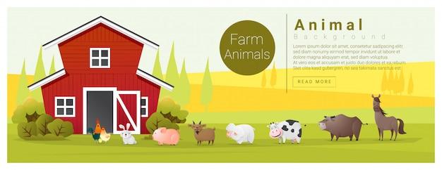 Paisaje rural y fondo de animales de granja.
