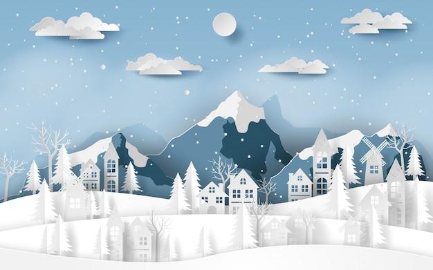 Paisaje rural pueblo en valle de nieve