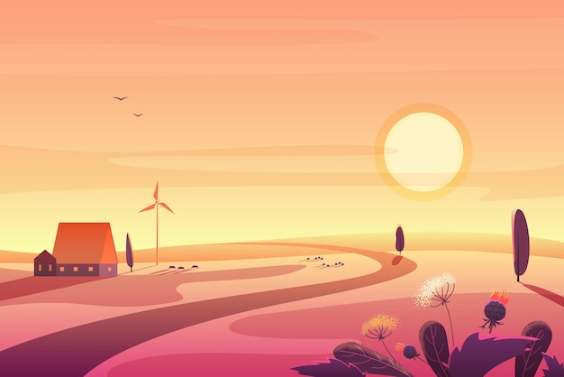 Paisaje rural solar en puesta de sol con colinas, casa pequeña, ilustración de turbina eólica