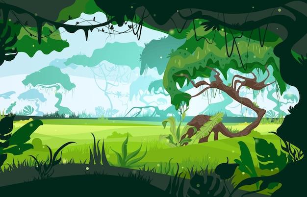 El paisaje de la sabana se abre a través de la ilustración plana de la jungla.