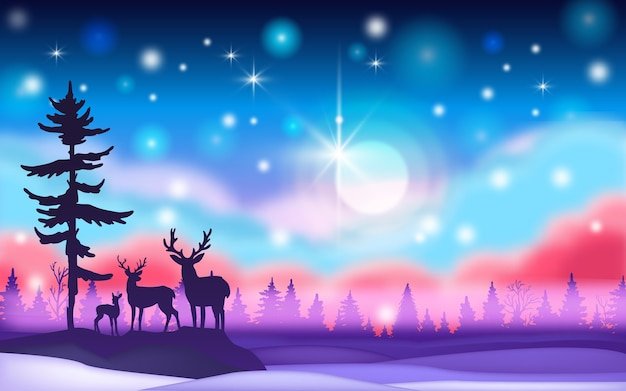 Paisaje salvaje del norte de invierno con aurora boreal, silueta de renos, luna, estrellas, nieve
