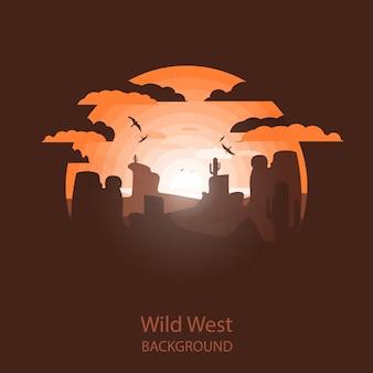 Paisaje del salvaje oeste. escena occidental ilustración del espacio negativo