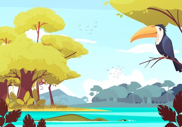 Paisaje de la selva con mono en el árbol, cocodrilo en el río, bandada de pájaros en el cielo ilustración de dibujos animados