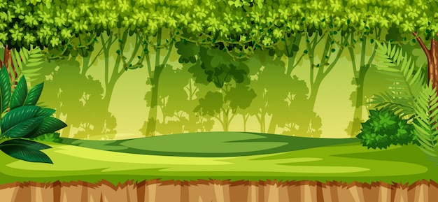 Un paisaje de selva verde.
