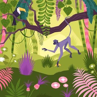 Paisaje selvático con árboles tropicales, monos, tucanes y flores.