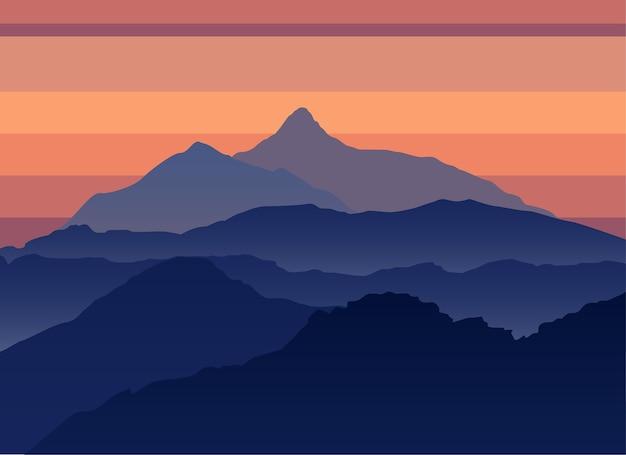 Paisaje de silueta de noche de montañas. concepto de viaje de aventura al aire libre. plantilla de cartel de montaña.
