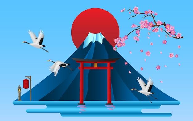 Paisaje de símbolos culturales japoneses, ilustración vectorial