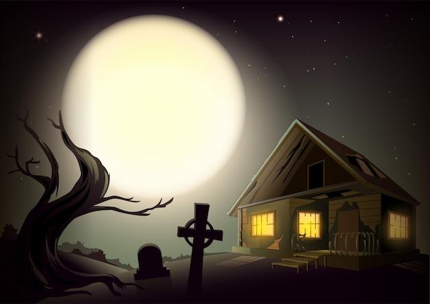 Paisaje sombrío de noche de halloween. gran luna llena en el cielo. casa con ventanas luminosas, arbol y cementerio
