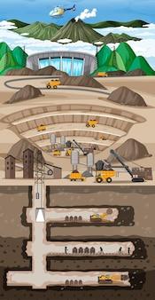 Paisaje subterráneo de la minería del carbón.