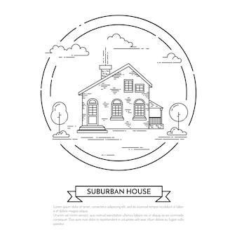 Paisaje suburbano con casa privada separada, árboles y nubes.