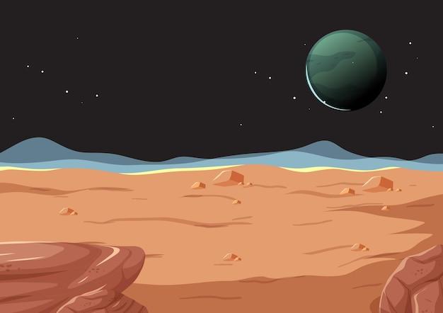 Paisaje de la superficie del espacio exterior con el planeta.