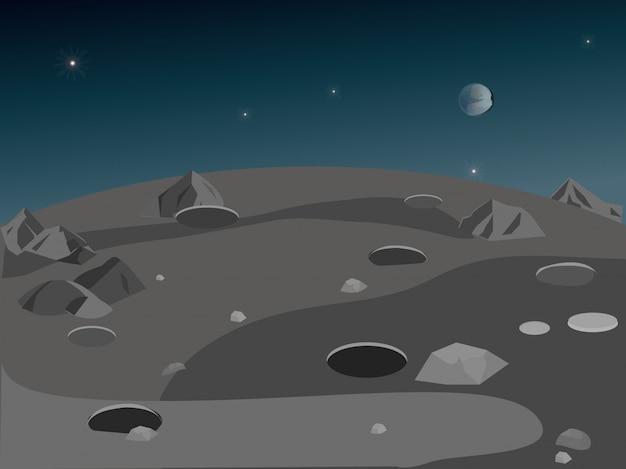 Paisaje de la superficie lunar.