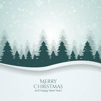 Paisaje de temporada de invierno con fondo de vector de árbol de navidad y nieve