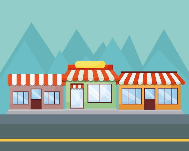 Paisaje con tiendas y montañas