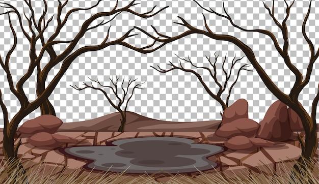 Paisaje de tierra seca agrietada sobre fondo transparente