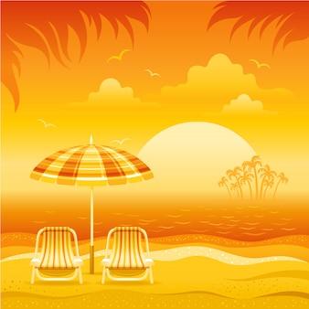 Paisaje tropical al atardecer con playa de mar, sombrilla, sillas, isla de palmeras y sol naranja, ilustración vectorial.