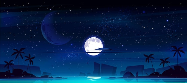 Paisaje tropical con bahía del mar en la noche