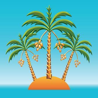 Paisaje tropical de la isla en el océano y tres palmeras datileras