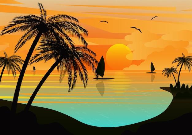 Paisaje tropical del mar al atardecer