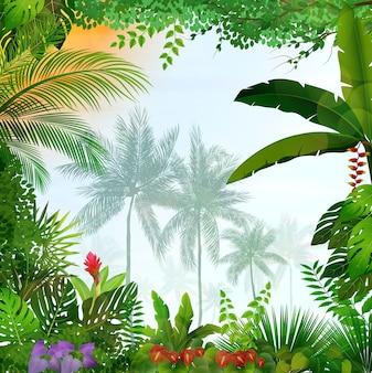 Paisaje tropical con palmeras y hojas