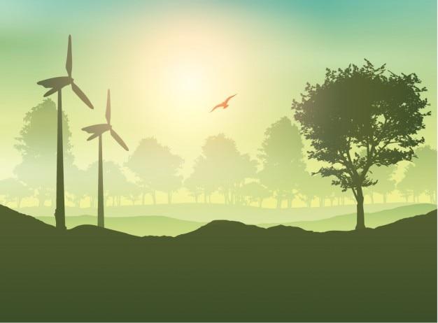 Paisaje de turbina de viento  y árboles