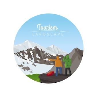 Paisaje de turismo con icono de círculo de montañas