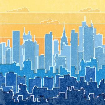 Paisaje urbano del arco iris del cielo con nubes. ilustración de vector de fondo