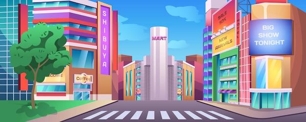 Paisaje urbano de la calle con acera encrucijada y edificios con letreros de tiendas cafetería ...