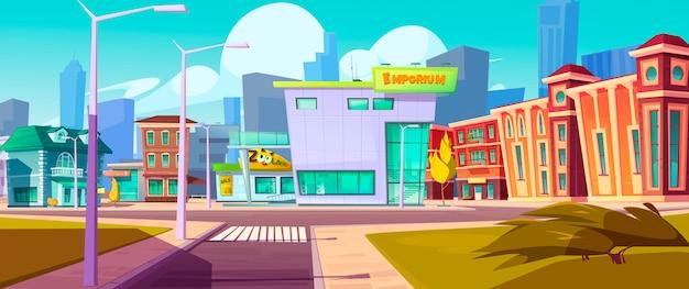 Paisaje urbano de la calle con centro comercial, casas