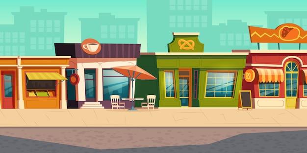 Paisaje urbano de calle con pequeña tienda, restaurante