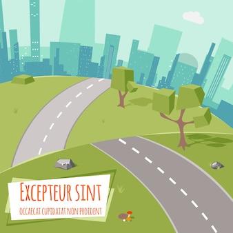 Paisaje urbano con carreteras y árboles de baja poli sobre hierba verde. al aire libre y pueblo, ciudad y parque. ilustración vectorial
