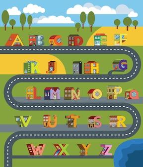 Paisaje urbano de ciudad alfabética en estilo de diseño plano. casa alfabética ambientada para la educación.
