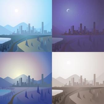 Paisaje urbano de la ciudad rascacielos en la niebla en el horizonte de montaña paisaje conjunto de fondo día noche puesta de sol salida del sol retro vintage sepia escena