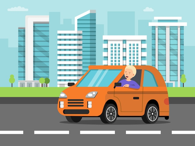 Paisaje urbano con coche y conductor.
