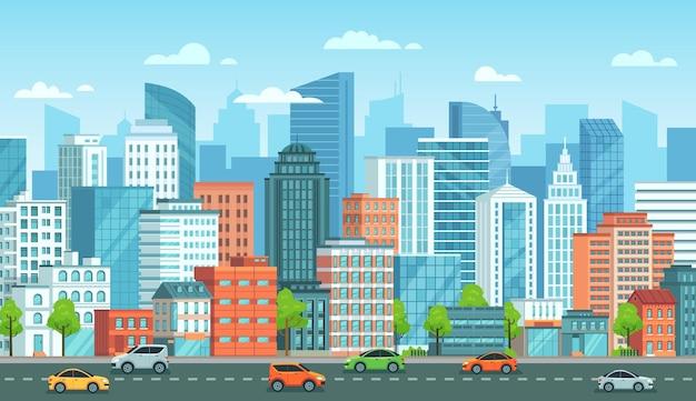 Paisaje urbano con coches. calle de la ciudad con carreteras, edificios de la ciudad e ilustración de dibujos animados de coches urbanos.