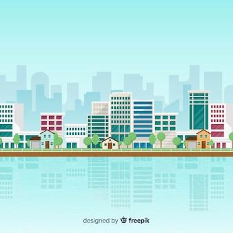 Paisaje urbano de diseño plano con edificios de oficinas