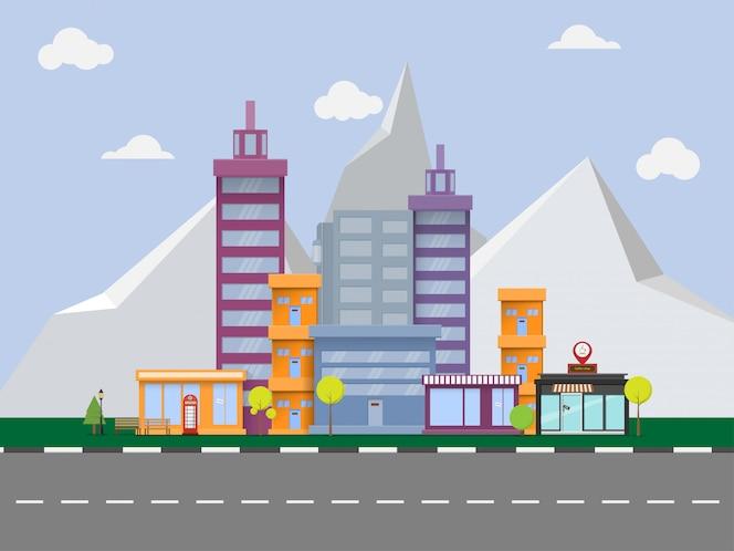 Paisaje urbano de vector con grandes edificios modernos