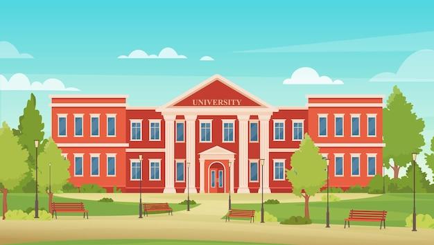 Paisaje urbano de dibujos animados con academia universitaria para estudiantes, fondo de arquitectura universitaria
