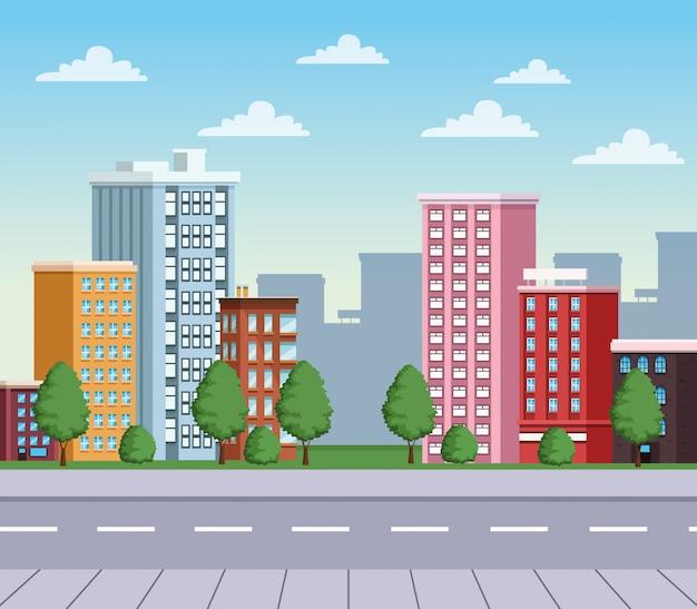 Paisaje urbano de edificios con escena urbana de carretera