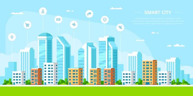 Paisaje urbano con elementos infográficos.